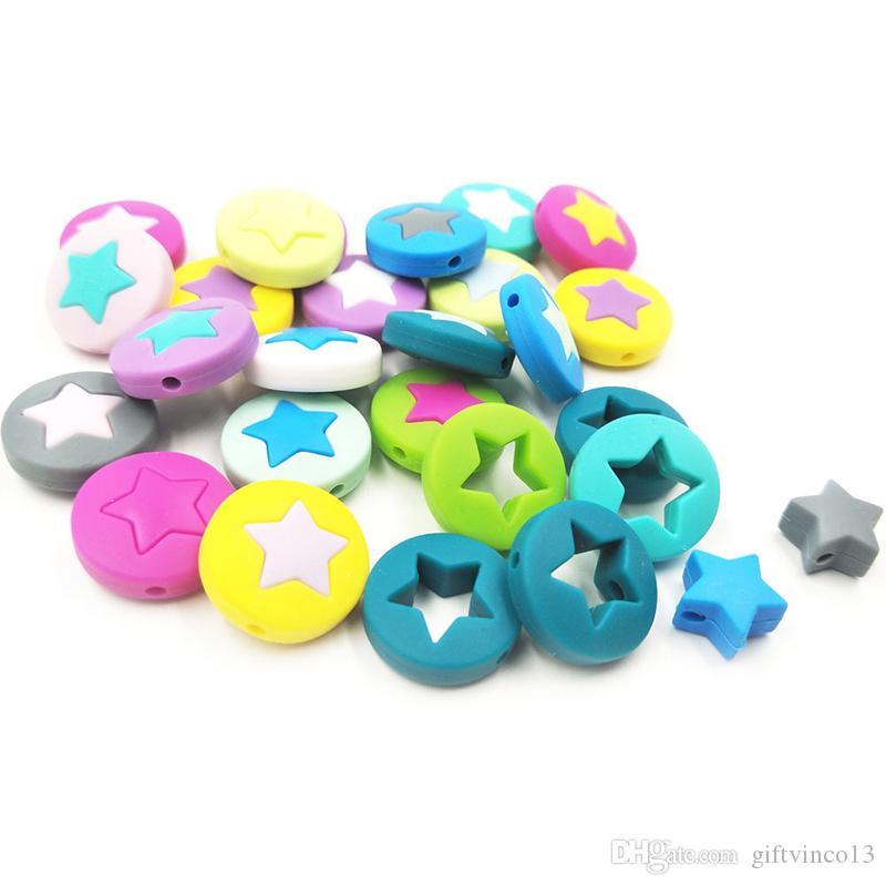 Appartement neuf perles rondes silicone étoile Perles BPA Silicone Collier Sucette Teething chaîne d'accessoires bijoux bricolage Matériel Chewing