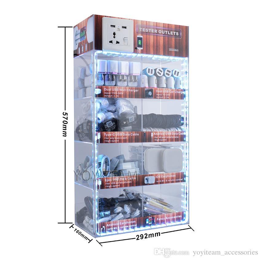 scatola di visualizzazione acrilica portatile degli accessori LED 8 in 1 uso del telefono cellulare gli smartphone di androide con il trasduttore auricolare del cavo del caricatore del usb