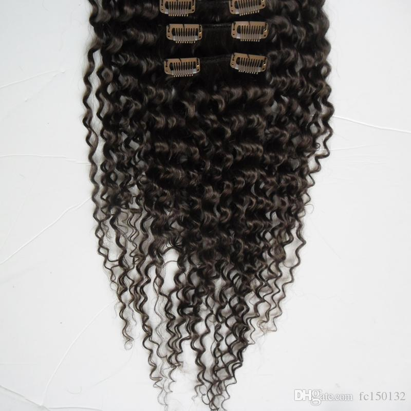 Brazilian Kinky Curly Hair Clip in Human Hair Extension Full Head 100g African american clip in human hair extensions