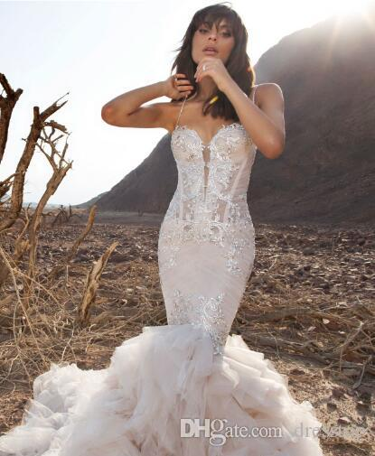 2018 Pnina Tornai Mermaid Wedding Dresses Spaghetti Backless Lace Bridal Gowns With Beads Sweep Train Plus Size Beach Wedding Dress