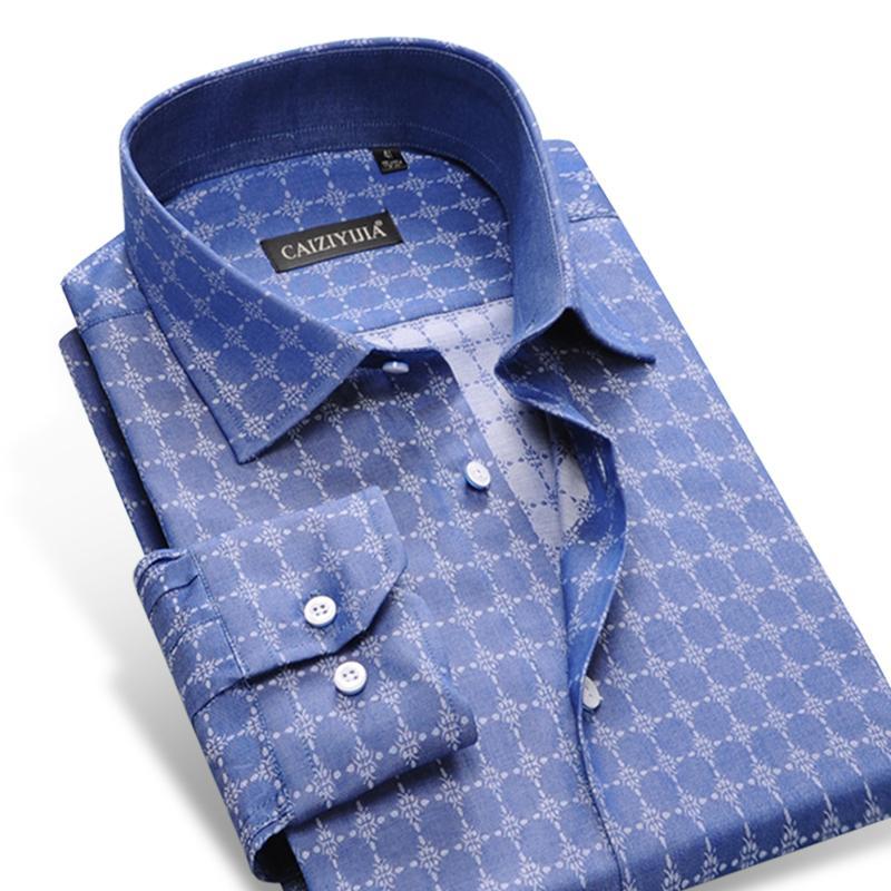 27d04e5d6f929 Men s Big Polka Dot Pattern Plaid Dress Shirt Long Sleeved Comfortable Soft  100% Cotton Smart Casual Slim-fit Thin Tops Shirts Dress Shirt Dress Shirt  ...