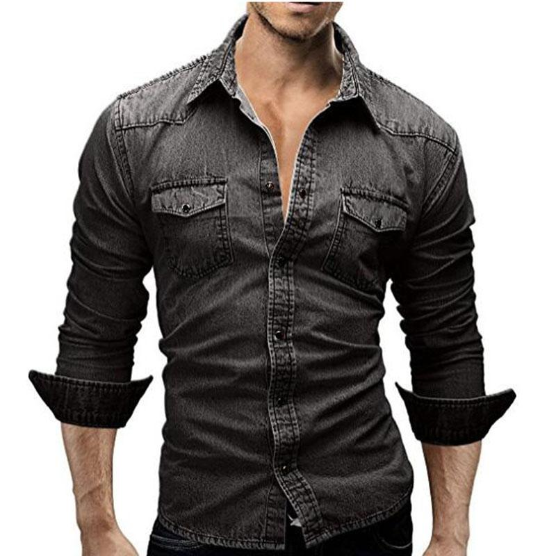 e9f73738c Compre Al Por Mayor HUGH M 3XL Hombres Camisa Jeans Camisa Masculina Hombre  De Manga Larga Casual Denim Slim Fit Camisas De Vestir Chemise Homme Men s  Denim ...