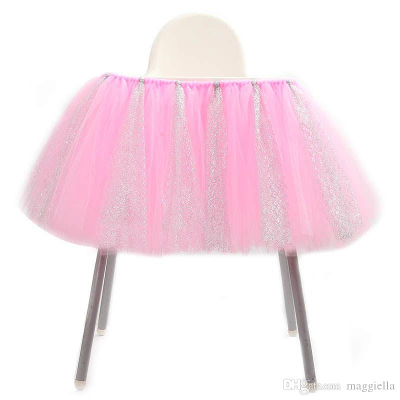 Tulle Glitter Table Skirts Tutu High Chair Skirt Baby Shower Decorations for Boys Girls Party 1st Birthday Party Supplies 100*35cm