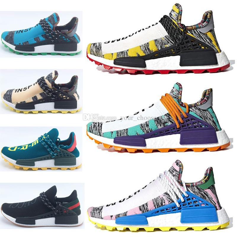 half off e3d84 0331e 2018 Pharrell Williams x Originals NMD Hu Trial Solar Pack 3MPOW3R Human  Race Men Women Running Shoes Authentic Sneakers With Box BB9527