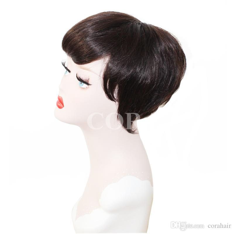 100% vergine brasiliana non trattata glueless piena del merletto parrucche dei capelli umani taglio corta con frangia parrucca anteriore del merletto corta le donne nere