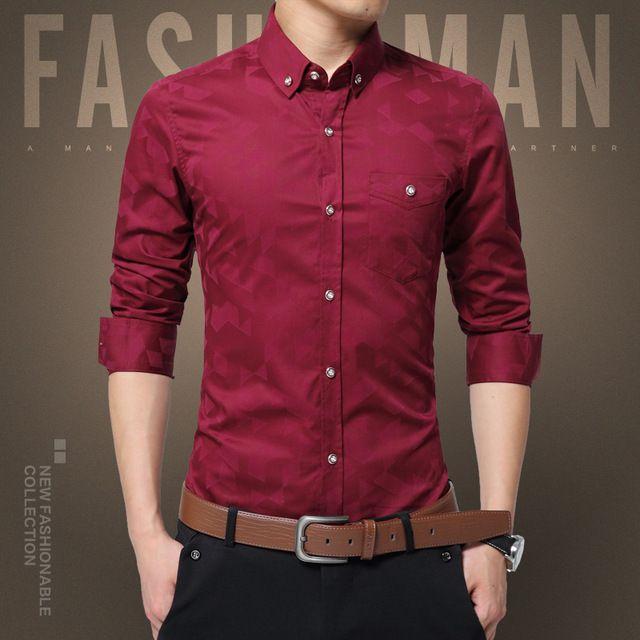 0aba9e241be 2019 Hot Sale New Fashion Casual Men Shirt Long Sleeve Jacquard Weave Slim  Fit Shirt Men Cotton Mens Dress Shirts Men Clothes 5XL From Angelyanyan