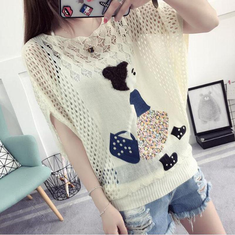 897d907f18b 2019 HSPL Summer Crochet Hollow Out Tops Women Mesh Pullover Sweaters Cute  Embroidery Causal Knitted Pull Femme From Caidiepicao