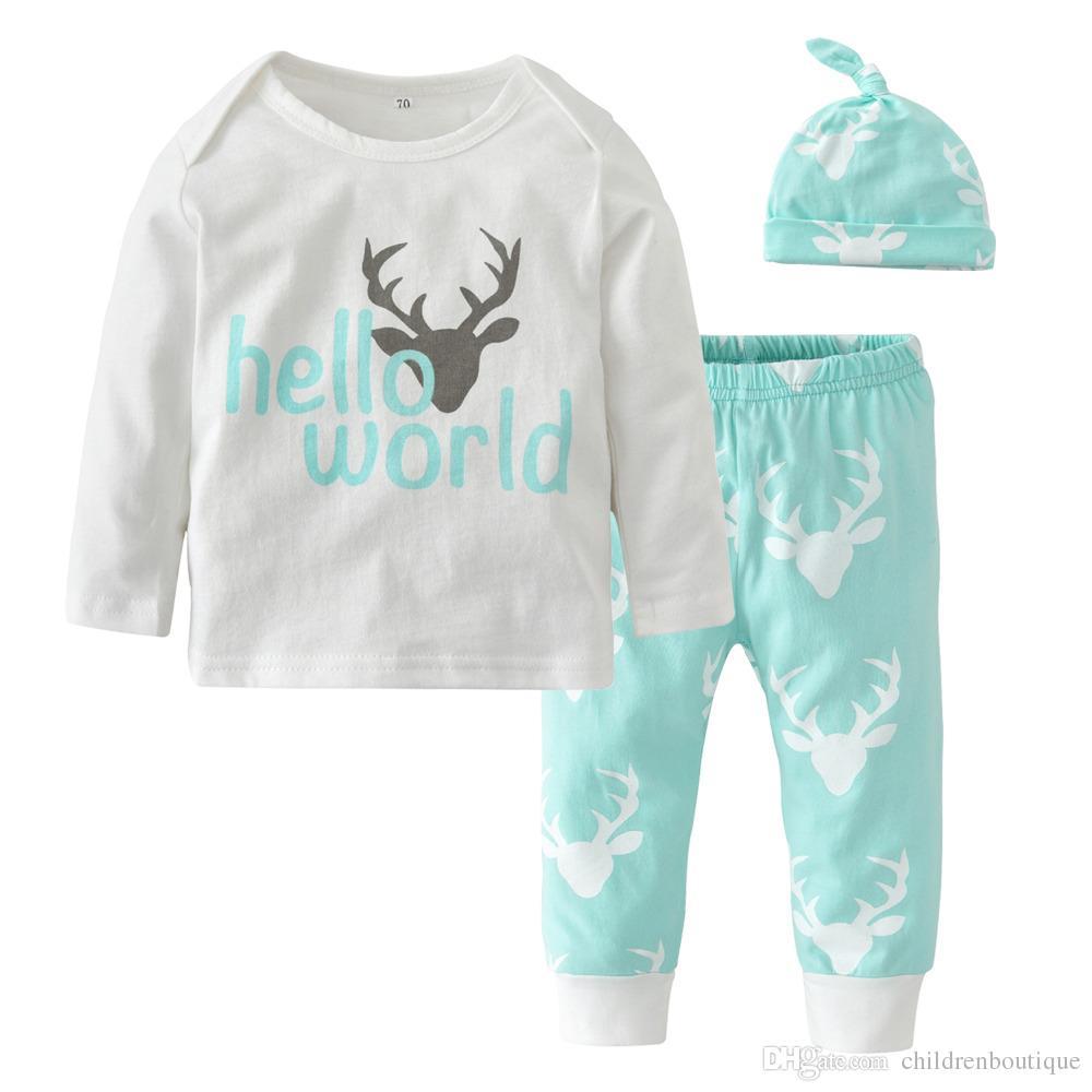 Newborn Baby Clothes Sets Christmas Cotton Long Sleeve Deer Head