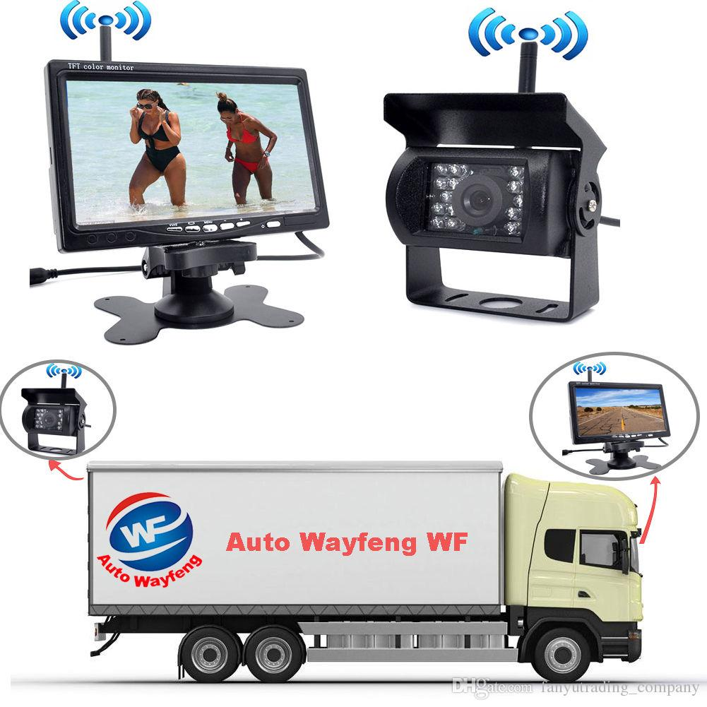 Wireless IR Rear View Car DVR Recorder Back up Camera Night Vision System 7  Monitor for RV Truck Free Shiping