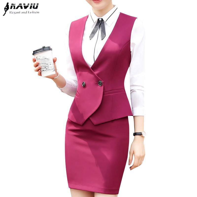 1efa61029bb26 Business Interview Vest Skirt Suits Set Women 2018 Fashion New ...