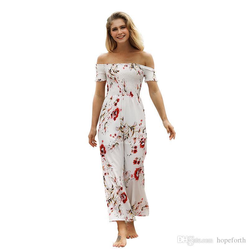 ec895a26904 2019 Hopeforth 2018 Women S Sexy Women S Jumpsuits Print Off The Shoulder  Jumpsuit Female Fashion Summer High Waist Wide Leg Nine Pants From  Hopeforth
