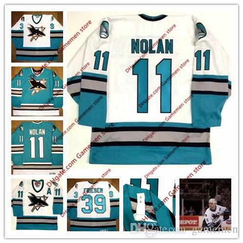 on sale b2664 d103b Mens 11 OWEN NOLAN 39 friesen San Jose Sharks 1996 CCM Vintage Jerseys  Jerseys Retro Mens stitched Hockey Jersey size S-4XL