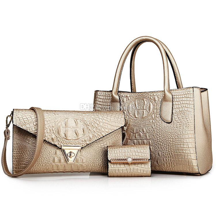 55170b976484 Gold Fashion Leather Alligator Shoulder Messenger Bags 3 in 1 Ladies Hand  Bag Set Ladies Hand Bag Set Online with  18.64 Piece on Sxworld s Store