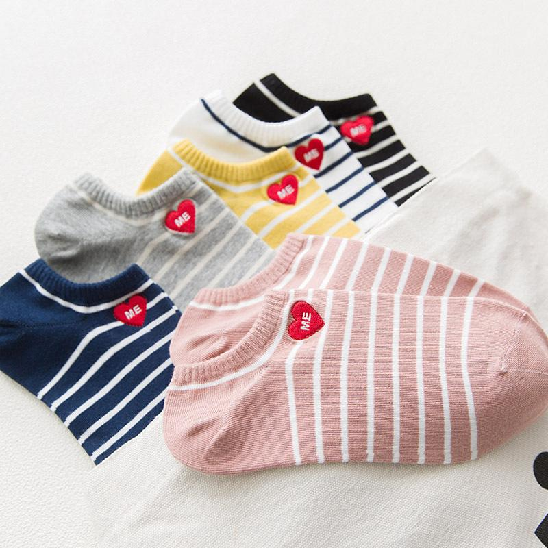 37a751ade 2018 New Cotton Embroidery Women Socks High Quality Soft Comfort Ankle  Socks Fashion LOVE ME Red Heart Stripe From Qingxin13