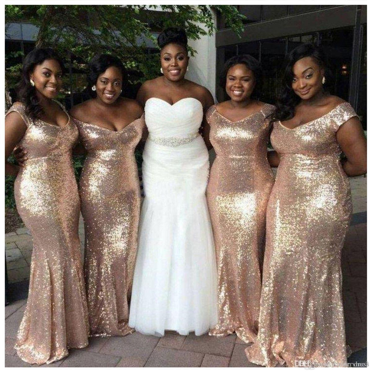 Plus Size Gold Sequined Bridesamid Dresses Bling Bling Mermaid Floor