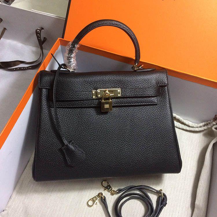 052faa971 Women's Luxury Shoulder Bag 100% Genuine Leather Black Lock Bag Free ...