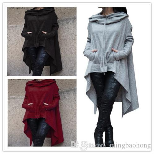 e66206daa12 2019 NEW Fashion S 5XL Women Plus Size Oversized Fashion Loose Hoodie Dress  Long Jumper Hooded Tops Casual Sweatshirt Sweater Asymmetric Hoodies From  ...