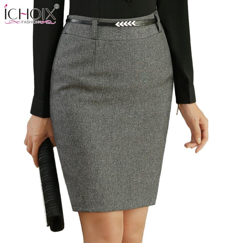 9a5a2f4103 ICHOIX 2017 OL Office Ladies Pencil Skirt Black Gray Knee-Length Skirt Women  New Autumn Winter Work Wear Skirt Midi Vintage Saia