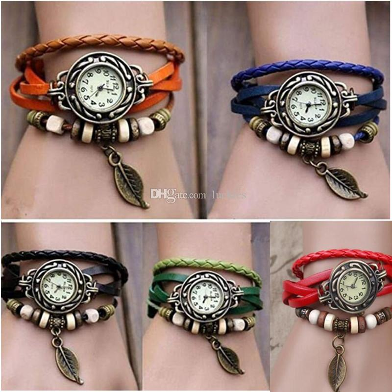 0497978e7 Retro Quartz Pendant Wrist Watches Fashion Weave Wrap Around Leather  Bracelet Bangle Womens Tree Leaf Green Girl Watch Watch Sale Automatic  Watches From ...