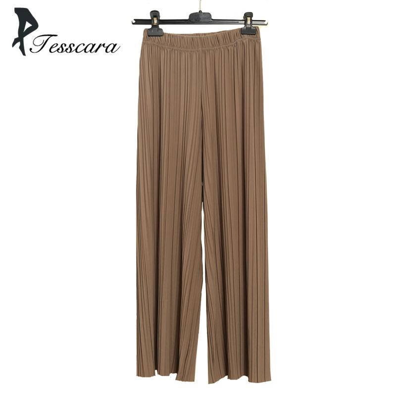 11978fb7303 Women Summer Cotton Causal Wide Leg Pants Office Lady Elastic High Waist  Loose Chiffon Hundred Pleats Pleated Trousers Bottom D1892606 UK 2019 From  Yizhan05 ...