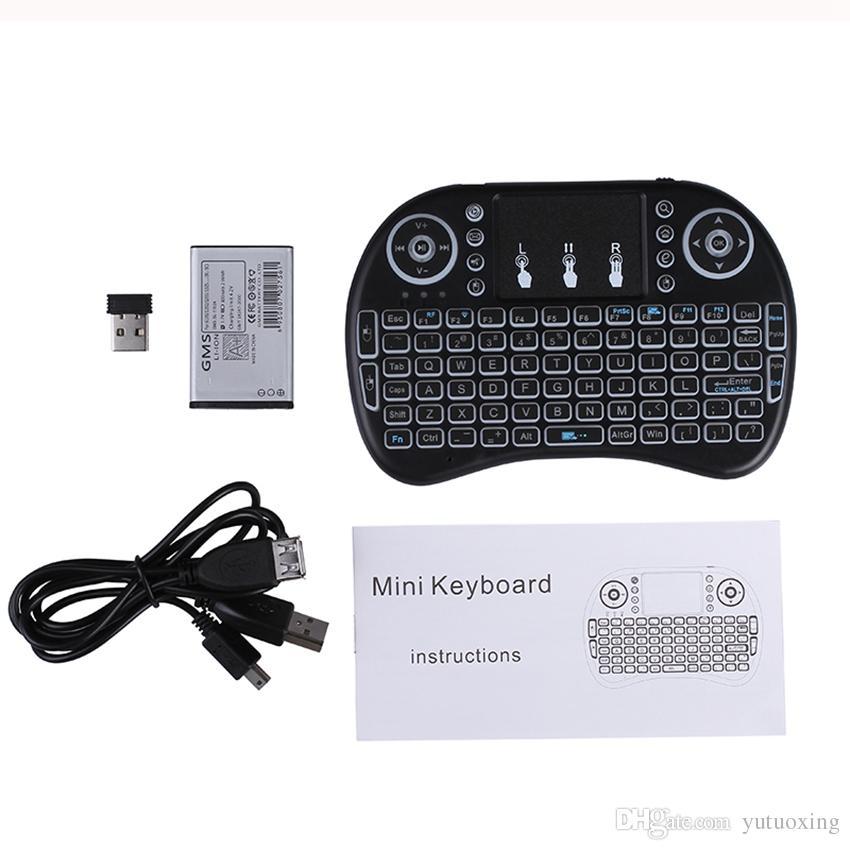 Rii I8 Fly Air Fare 2.4G Renkli Aydınlatmalı Aydınlatmalı Kablosuz Touchpad Klavye PC Pad Android TV Box Için MXQ PRO X96 Mini