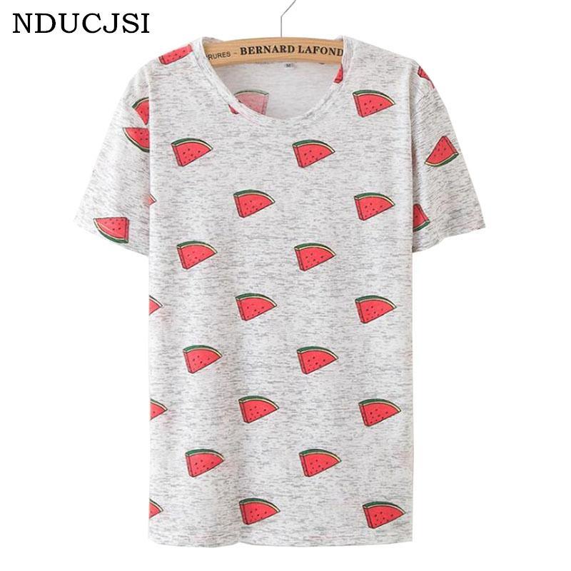 Nducjsi 2018 Girl Casual New Loose Watermelon Printing T Shirts