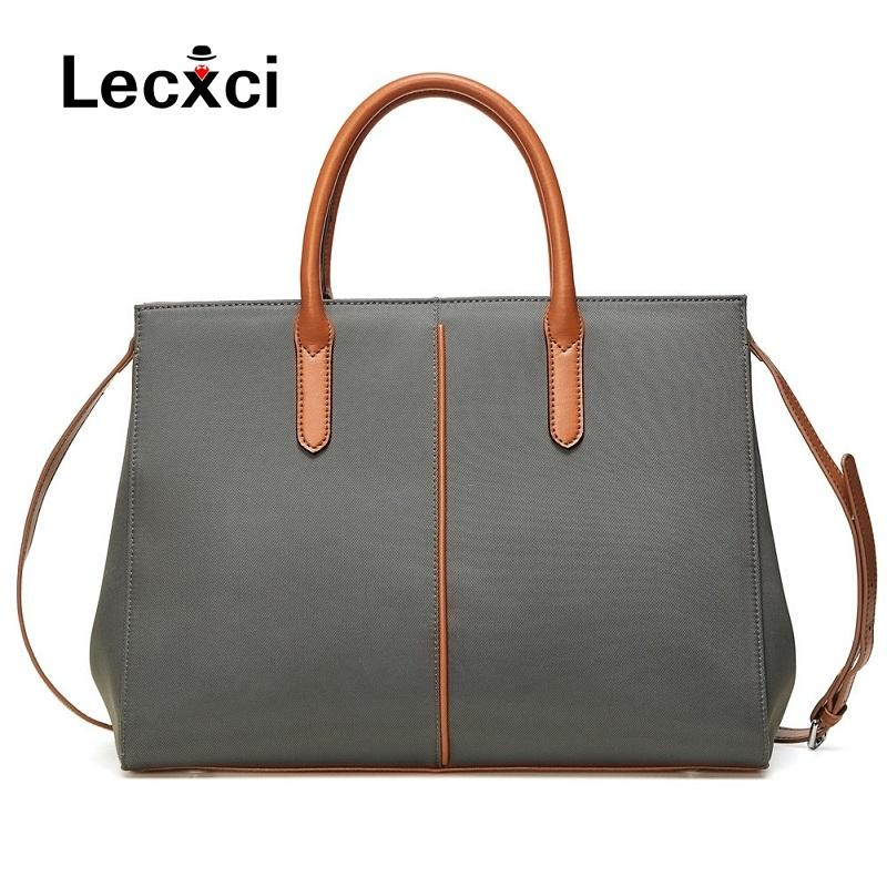 Lecxci ladies shoulder bag Oxford cloth simple waterproof nylon bag commuter handbag women conventional large capacity briefcase