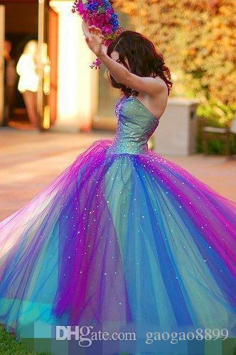 Rainbow Colorful Long 2019 Prom Dresses Party Wear Evening Gowns Strapless Multicolor Tulle Layers Bridal Gowns Lace Up