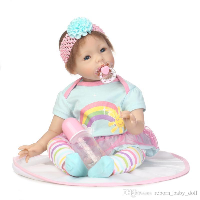 2018 la más popular muñeca Envío gratis 22 pulgadas bebé reborn baby doll regalos de los niños realista de vinilo de silicona suave real toque suave