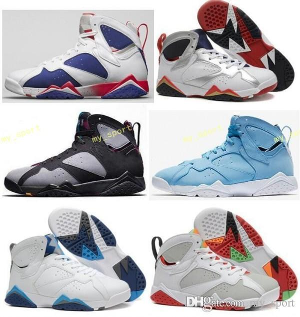 the latest 6ec42 858a5 High Quality 7 7s Bordeaux Hare Olympic Tinker Alternate Men Basketball  Shoes 7s Sweater UNC French Blue GMP Raptor Sneaker With Box