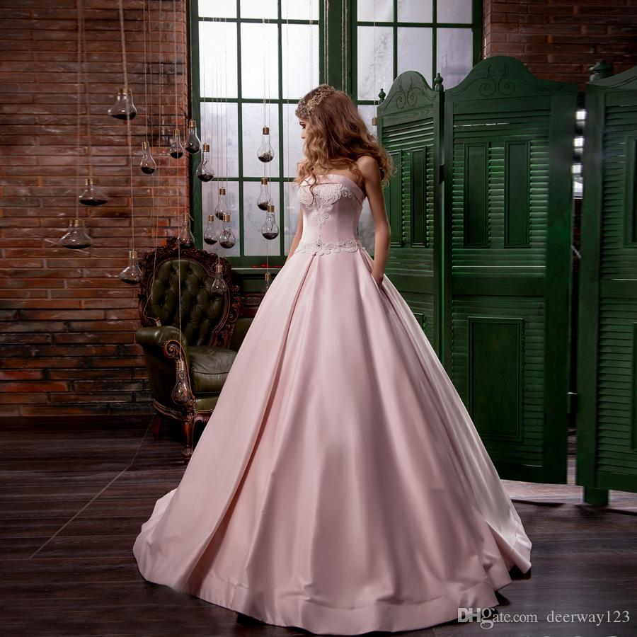 Discount 2018 Hot Sale Pink Wedding Dress Satin Strapless With ...