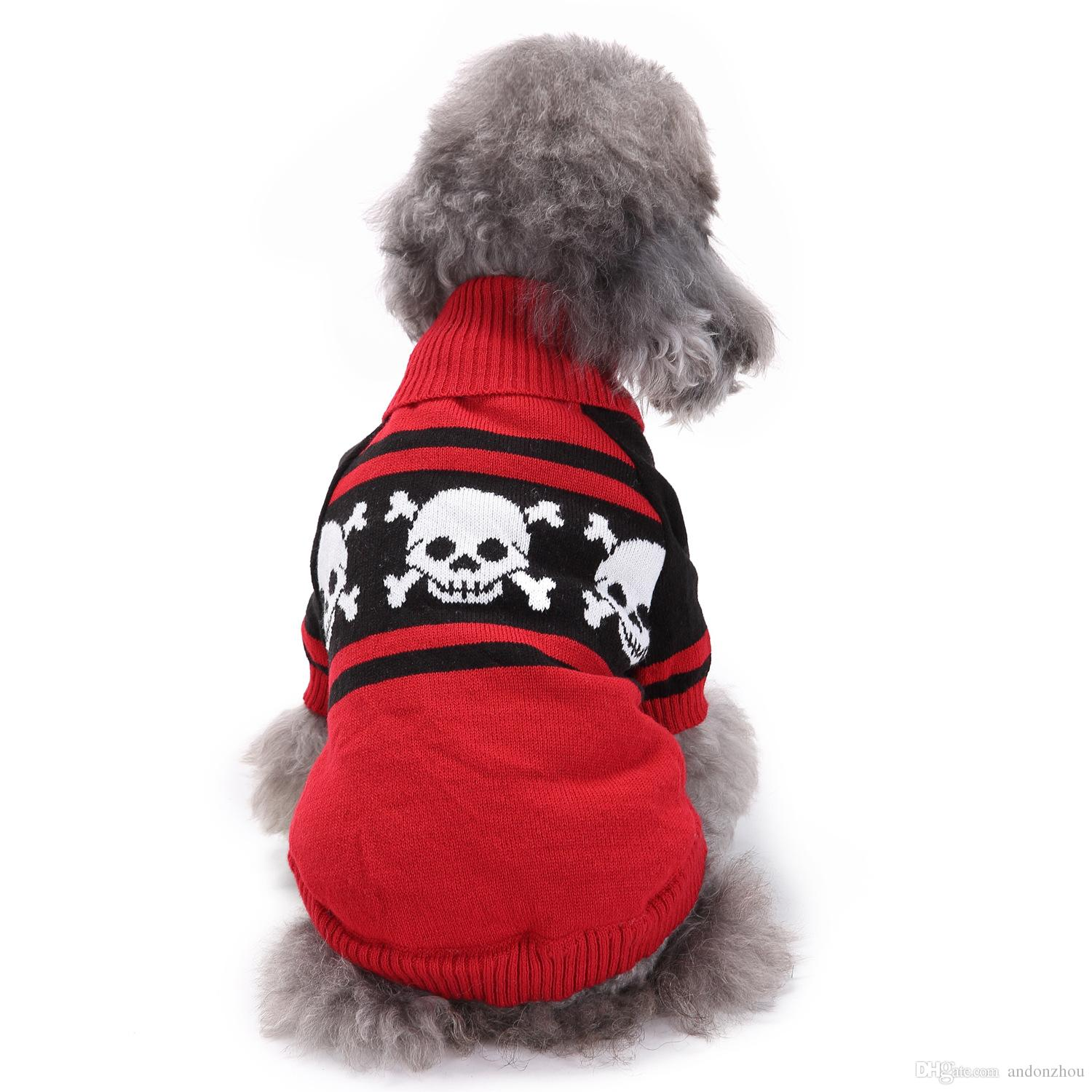 Dog Clothes For Halloween Skull Design Dog Costume Puppy Sweaters