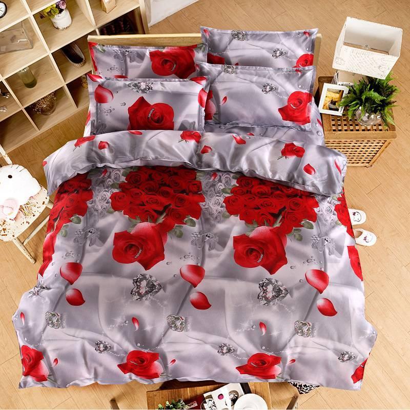 Acheter Ensemble De Literie Rose Housse De Couette Romantique Linge De Lit  Floral Drap Double Literie Couette Couette Literie Taille Queen De $50.23  Du ...