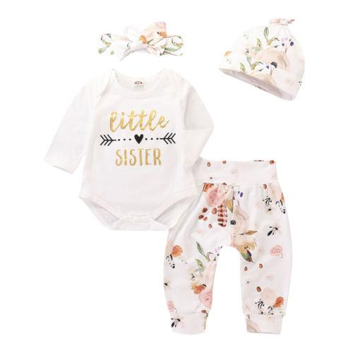 2e67d7941 2019 Kids Baby Girls Outfit Cotton Long Sleeve Letter Romper Tops ...