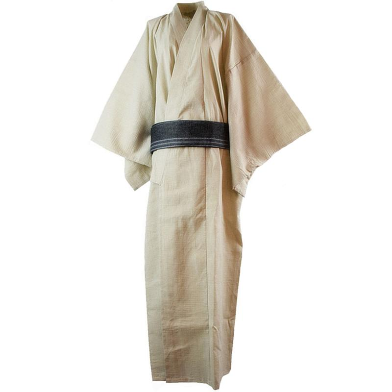 Spring Summer Men Cotton Yukata Bathrobe Gown Japanese National ... e49b0c629