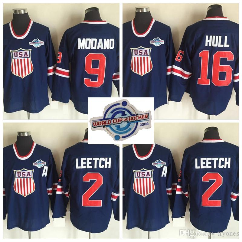 2019 2004 World Cup USA Team Hockey Jerseys 16 BRETT HULL 2 BRIAN LEETCH 9  MIKE MODANO Blue Stitched Jerseys From Tryones a73df0eaa2d