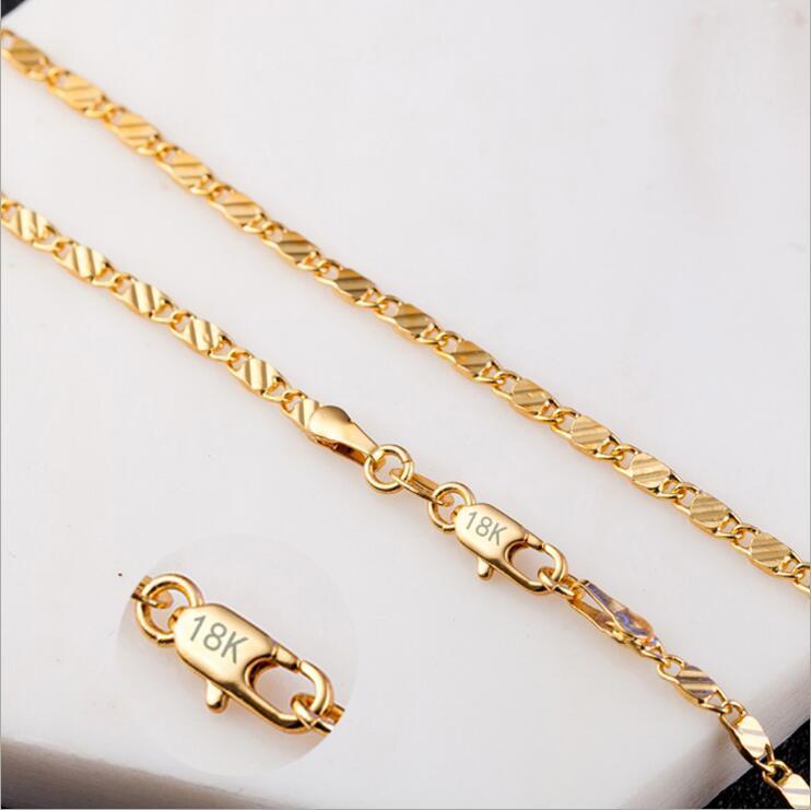 SMTCAT 2MM Slim Women Men 585 Gold Color Necklace Colar de Ouro Link Chains  16 18 20 22 24 Factory Jewelry 18 K Stamp