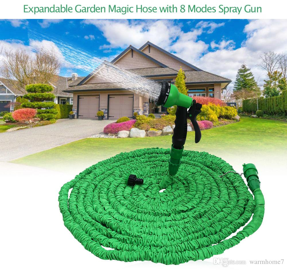 Garden Hose Expandable Magic Flexible Water Hose Plastic Hoses Pipe With 8 Modes Spray Gun To Watering Free Shipping Hot Sell NB