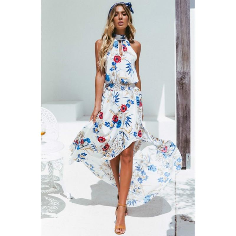 54358ebde9 Sleeveless Floral Print Summer Dress Women Elastic Waist Streetwear ...