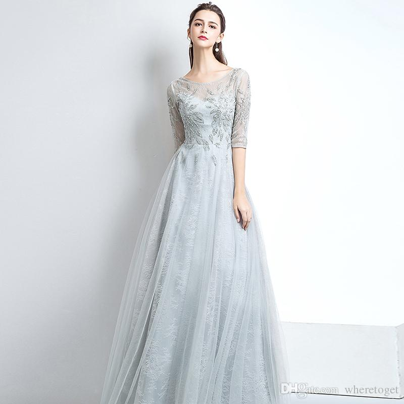 f97925f1e43 2018 Fashion Silver Plus Size Evening Dresses With Half Long Sleeves  Vintage Lace Crystals Beaded Floor Length Corset Formal Prom Party Gown  Sexy Evening ...