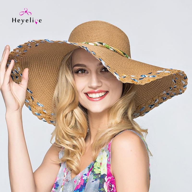 54665058 Fashion Women's Sun Hats Protection Collapsible Beach Summer Hats Big Brim  Oversized Straw Hat With Bowknot New Lady Vintage Cap