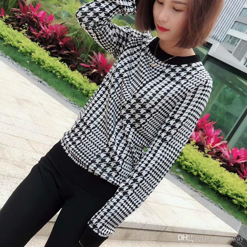 93a4e2c937 2019 Plaid Sweater Women 2018 Winter Spring Fashion High Quality Sweaters  Long Sleeve Casual Knitted Jumper Pullover From Ctranway