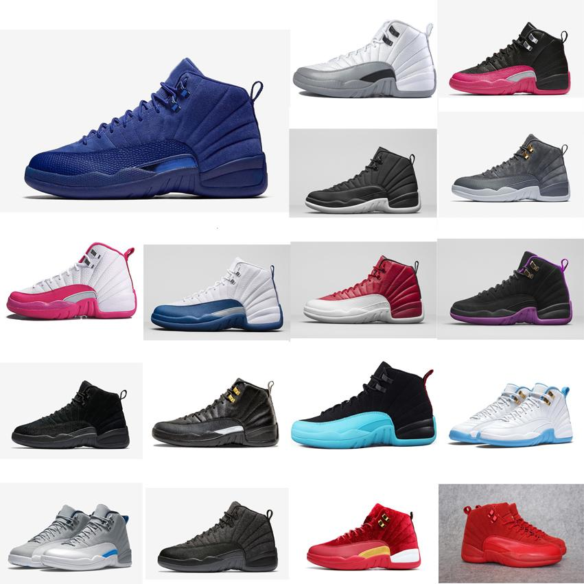 quality design 710b8 808e1 Cheap Women retro 12s basketball shoes for sale French Blue White Wool UNC  Wolf Gery J12 Boys Girls Kids Jumpman XII sneakers boots with box