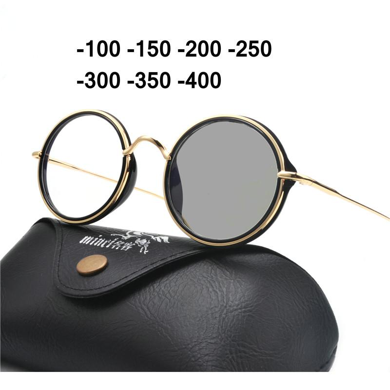 e2d3e757f78 2018 Round Alloy Sun Photochromic Myopia Eyeglasses Optical Men ...