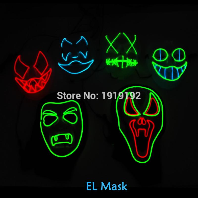El Wire Mask Light Up Neon Led Mask For Halloween Tomorrow Land ...