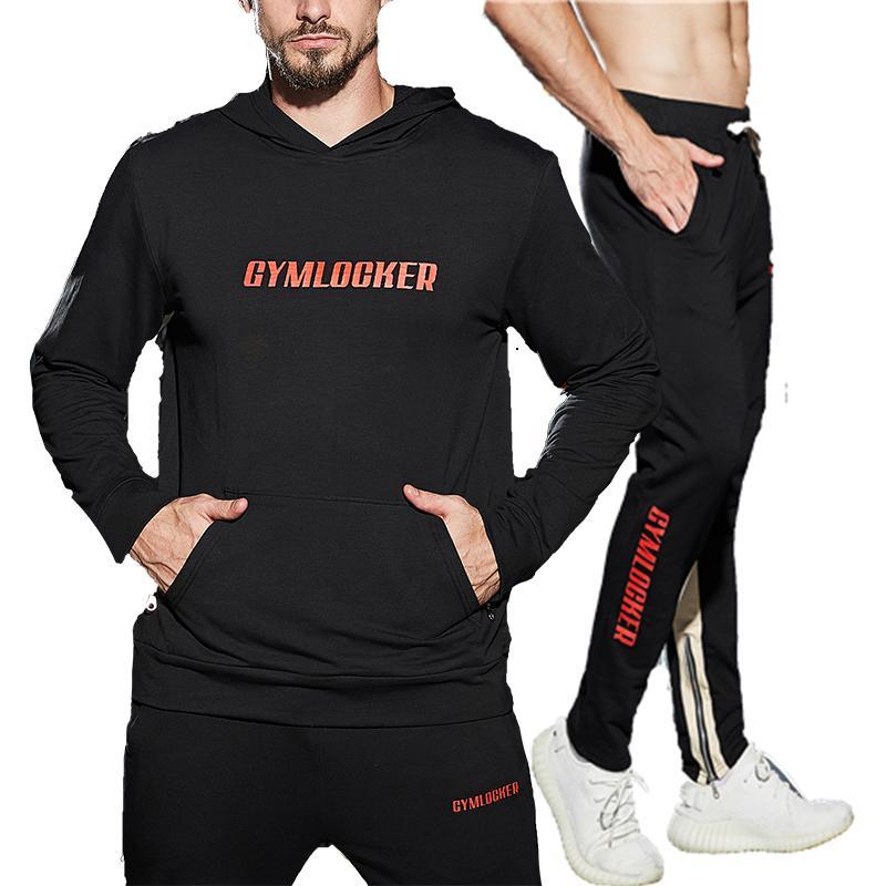 Moda 2018 traje deportivo hombres sudaderas con capucha chándal conjunto hombre de la cremallera chándal hombres pantalones deportivos chaquetas altas sudaderas para hombres