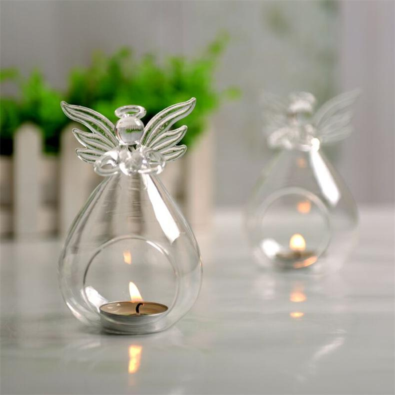 Angel Christmas Hanging Tealight Holder Glass Orb Terrarium Glass
