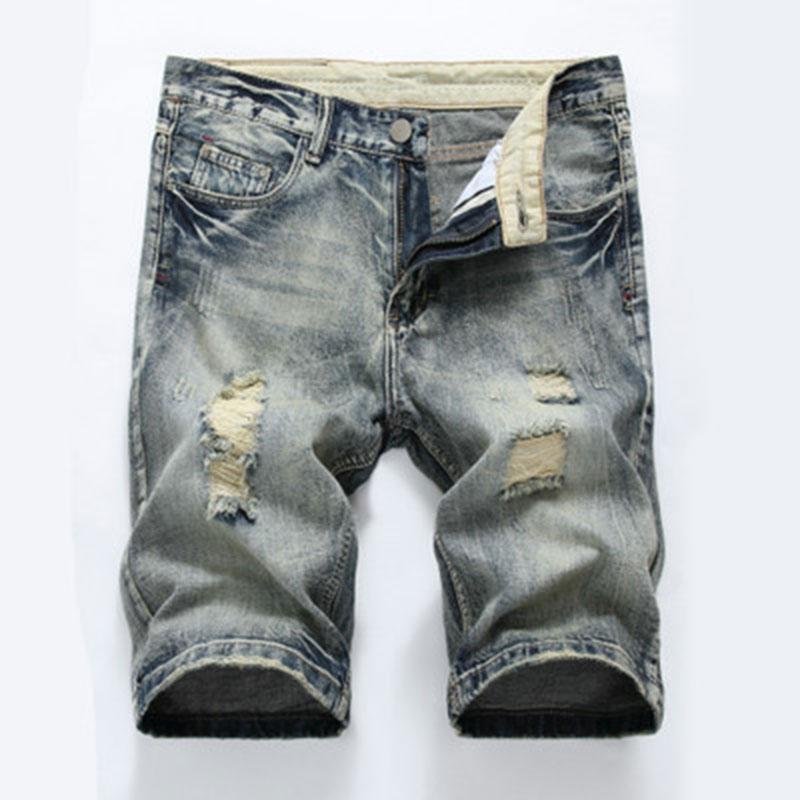 b05a410c1c19 Men s Denim Shorts Summer Cotton Holes Light Men s Wear Middle ...