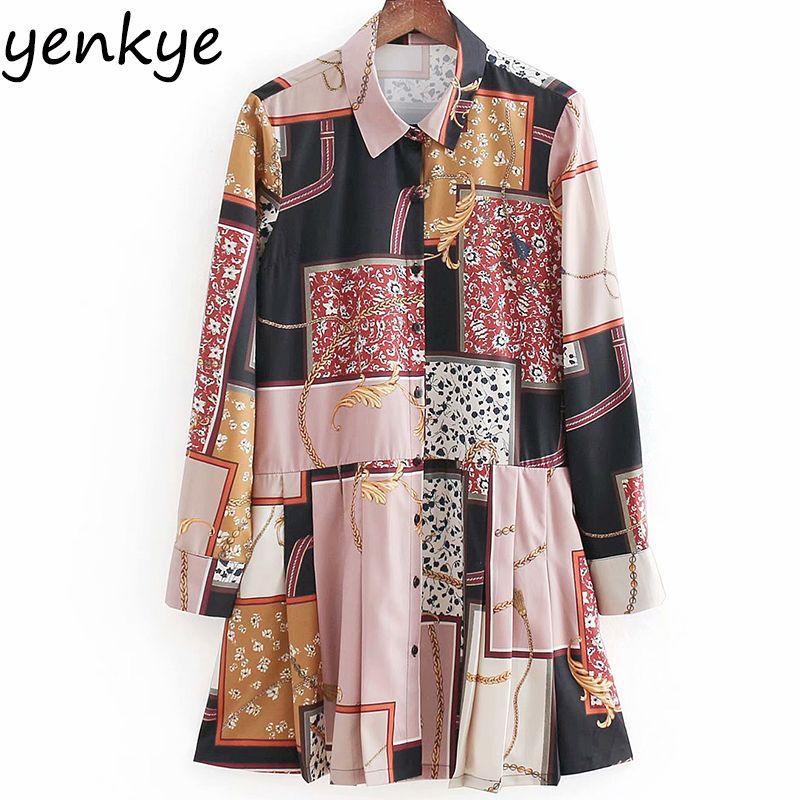 8e923f6b824e 2019 Women Vintage Patchwork Chain Print Dress Lady Flowy Long Sleeve Turn  Down Collar Autumn Shirt Dress Casual Tunic BBWM8536 From Clothwelldone, ...