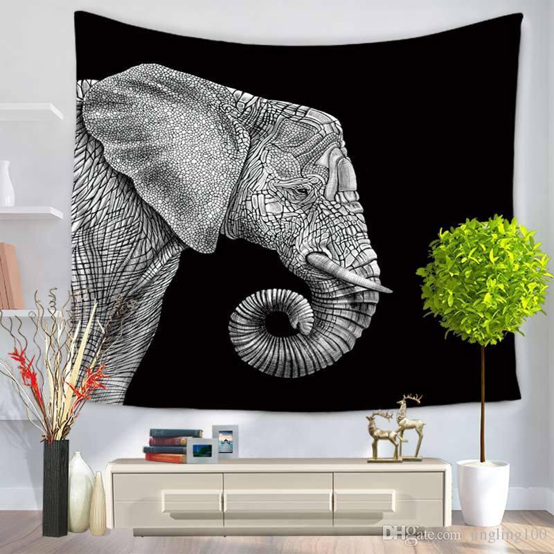 es 150 * 130 cm impresión de la flor del elefante colgando de la pared de la manta de la playa Impreso patrón del plumaje bohemia correa de la bohemia decoración del hogar